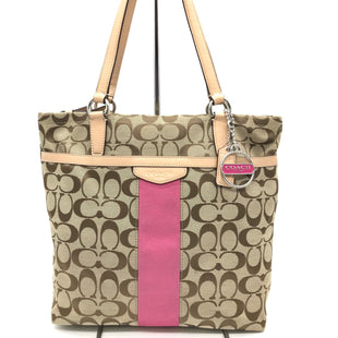 "Primary Photo - BRAND: COACH STYLE: HANDBAG DESIGNER COLOR: MONOGRAM SIZE: MEDIUM (10.5""H X 13""W X 3.5""D) HANDLE DROP: 9"" SKU: 262-26211-141109WEAR AND STAINS SHOWS AT THE BOTTOM AND CORNERS, INK STAINS ON THE INTERIOR POCKET - AS IS"