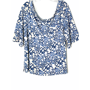 Primary Photo - BRAND: TRAVELERS BY CHICOS STYLE: TOP SHORT SLEEVE COLOR: WHITE BLUE SIZE: L /2SKU: 262-26211-145284COLD SHOULDER STYLE