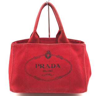 "Primary Photo - BRAND: PRADA STYLE: HANDBAG DESIGNER COLOR: RED BLACK SIZE: MEDIUM SKU: 262-26275-75457APPROX. 14""L X 9""H X 9""D. PRICE DOES REFLECT GENTLE WEAR AS SHOWN INCL. TO EDGES/CORNERS."