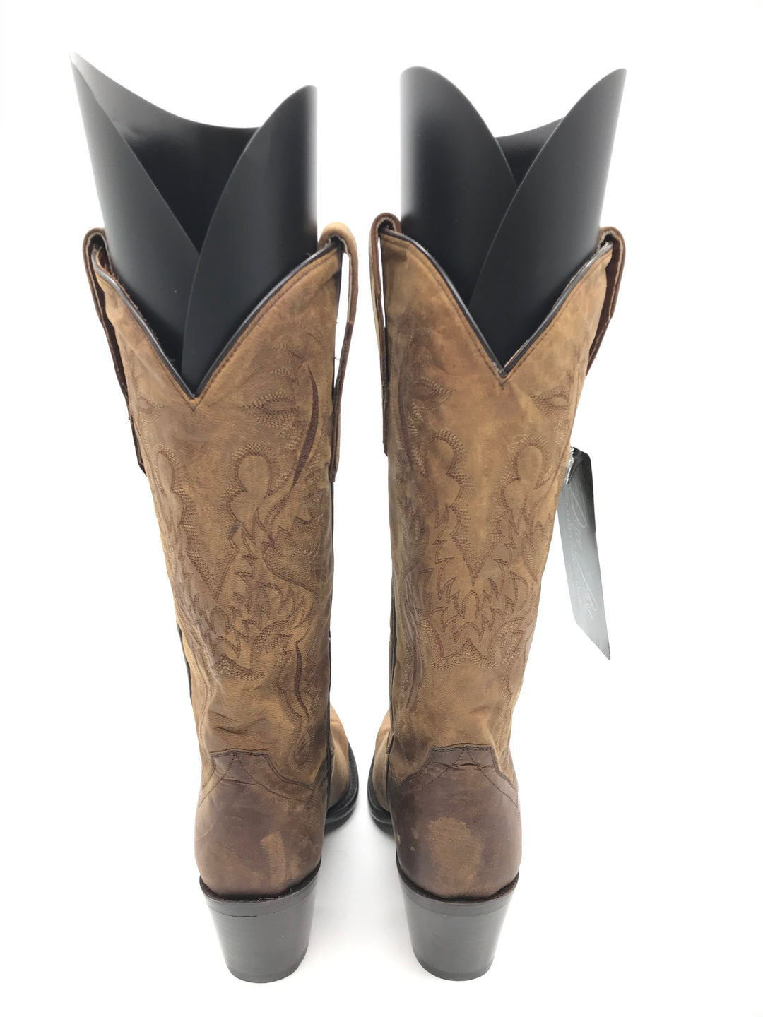 Photo #2 - BRAND: DAN POST <BR>STYLE: BOOTS KNEE <BR>COLOR: BROWN <BR>SIZE: 7 <BR>SKU: 262-26275-70166<BR>SOME GENTLE CRACK ON SIDE PIPINGS • AS IS