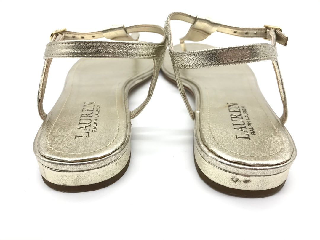 Photo #3 - BRAND: RALPH LAUREN <BR>STYLE: SANDALS FLAT <BR>COLOR: GOLD <BR>SIZE: 7.5 <BR>SKU: 262-26275-70162<BR>GENTLE SCUFFING ON THE TOE AND HEELS - AS IS