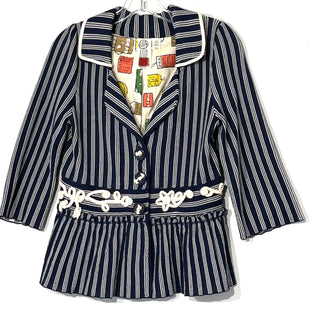 Primary Photo - BRAND: ANTHROPOLOGIE STYLE: SWEATER CARDIGAN LIGHTWEIGHT COLOR: BLUE WHITE SIZE: S SKU: 262-26275-7504360% COTTON
