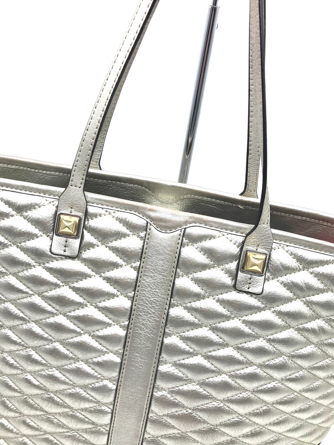 "Handbag Designer By Rebecca Minkoff  Size: Medium - BRAND: REBECCA MINKOFF <BR>STYLE: HANDBAG DESIGNER <BR>COLOR: GOLD <BR>SIZE: MEDIUM 11.5""H X 18.75""L X 6""W<BR>HANDLE DROP: 8.5""<BR>SKU: 262-26241-40509<BR>GENTLE WEARS AROUND PIPINGS, CORNERS AND LOWER PART - AS IS"