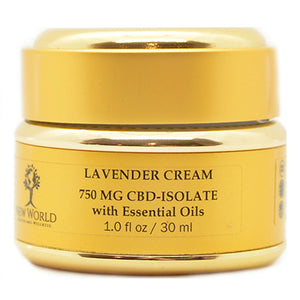 Lavender Cream 750mg CBD in 1oz Gold Container