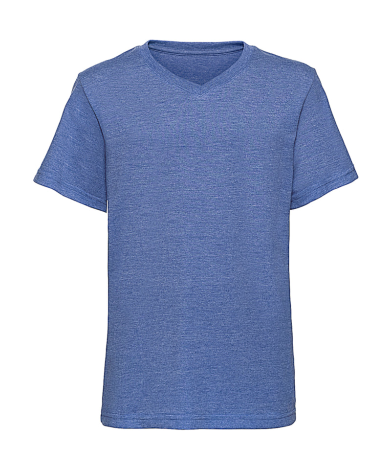 Boys V-Neck T-Shirt, Blue Marl - Internationale Schule Berlin