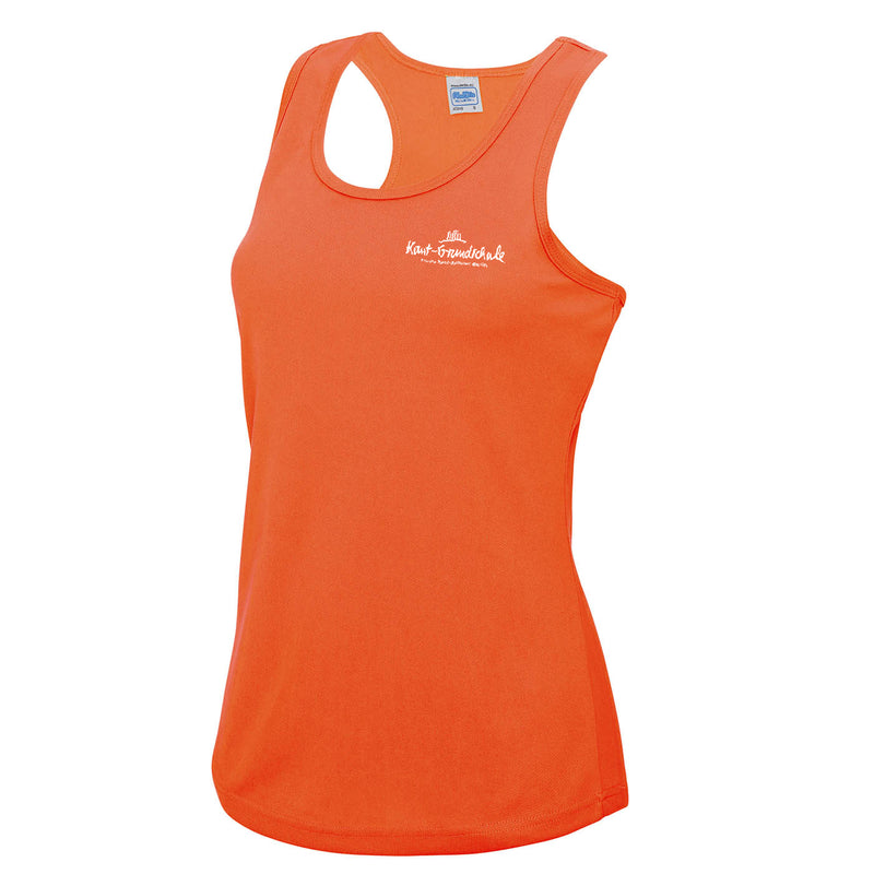 Sportshirt Damen ohne Arm - orange