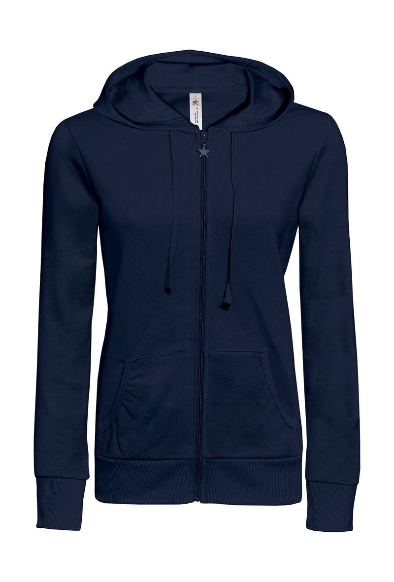 Ladies Hooded Zip Sweat B&C, Navy - Kita International