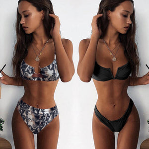 Bandeau Bikinis 2020 New V Neck Bikini Swimsuits Push Up, Brazilian Bikini 3418