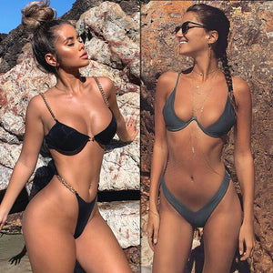 New high cut thong bathing suit 2020, high waist, Solid Brazilian Bikini Set