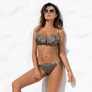 ESSV Push Up Bikini Set Ruffle - Two Piece Bikinis Adjustable Strap