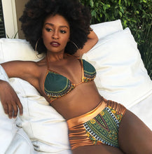 Load image into Gallery viewer, New African Print Two-Pieces Bath Suits Bikini Set 2020, Gold High Waist Suit