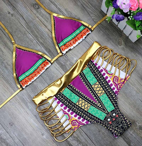 New African Print Two-Pieces Bath Suits Bikini Set 2020, Gold High Waist Suit