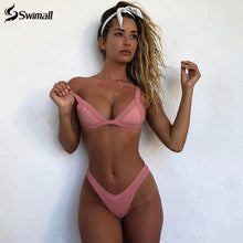 Load image into Gallery viewer, Bikini 2020 Solid Women Swimwear Push Up Bikini Set, Patchwork Brazilian Suit