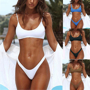2022020 Summer Women Swimwear Triangle Padded Bra Push-up Bikinis Solid
