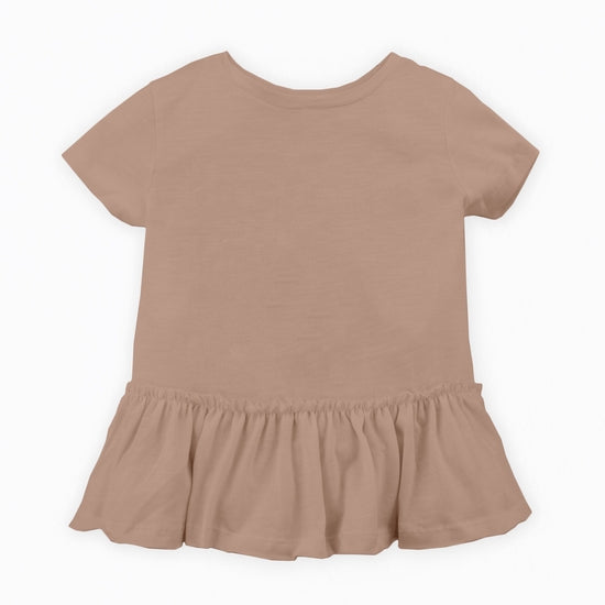 Short Sleeve Peplum Top - Truffle