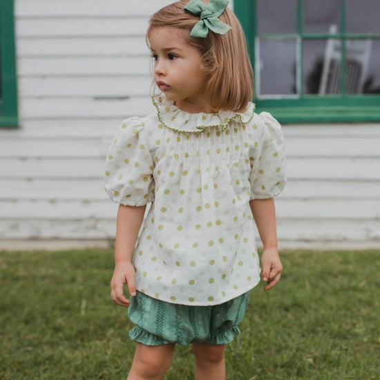 Emily Top - Green Polka Dot