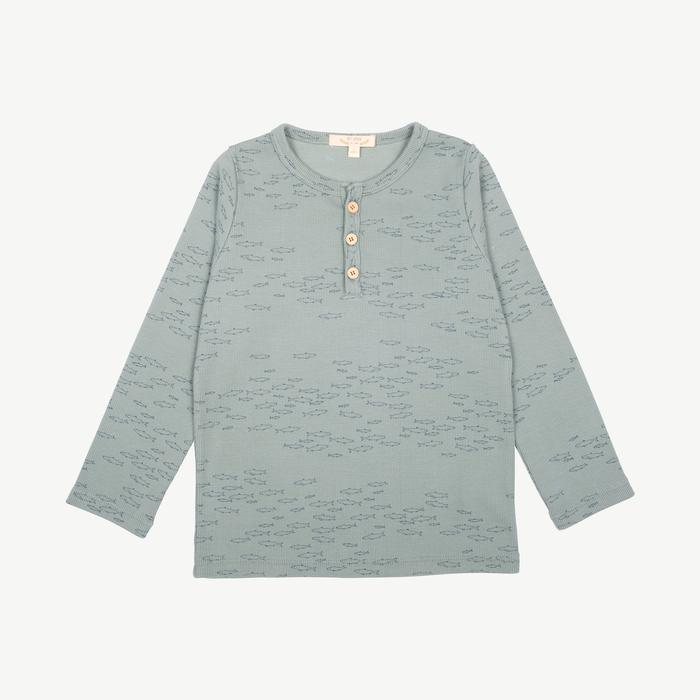 Schooling Fish Ribbed Henley - Chinoise Green