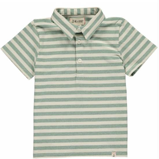 Green & Cream Stripe Polo