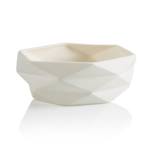 serving bowl with geometric sides