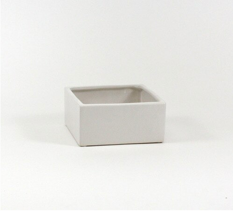 Low Square White Planter