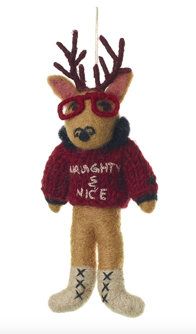 Deer in Sweater Ornament