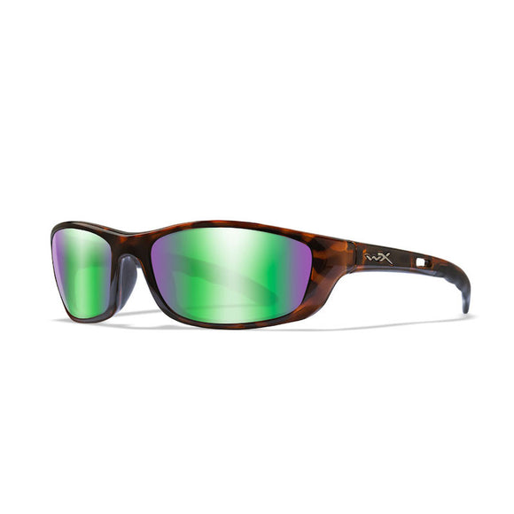WX P-20 Polarized Emerald Mirror (Amber)/Brown Gloss Demi