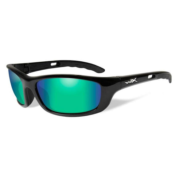 WX P-19 Polarized Emerald Mirror (Amber)/Gloss Black