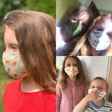 Load image into Gallery viewer, Foxes Kids 7+ Reusable 3 layer face mask.