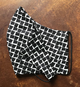 Monochrome Tile Cotton Reusable 3 layer face mask.