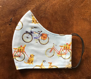 Bicycle Mens Cotton Reusable 3 layer face mask.