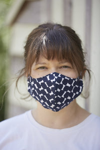 Blue and White Lux Women's Lawn Cotton Reusable 3 layer face mask.