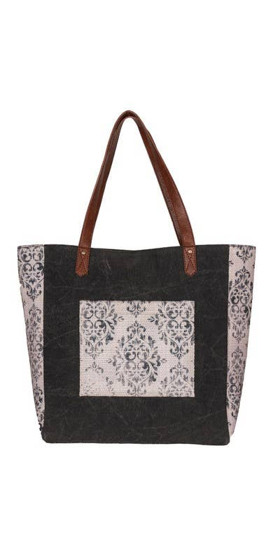 Mia Up-Cycled Canvas and Durrie Tote, M-6516