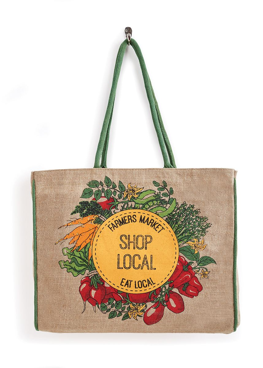 SHOP LOCAL BURLAP TOTE