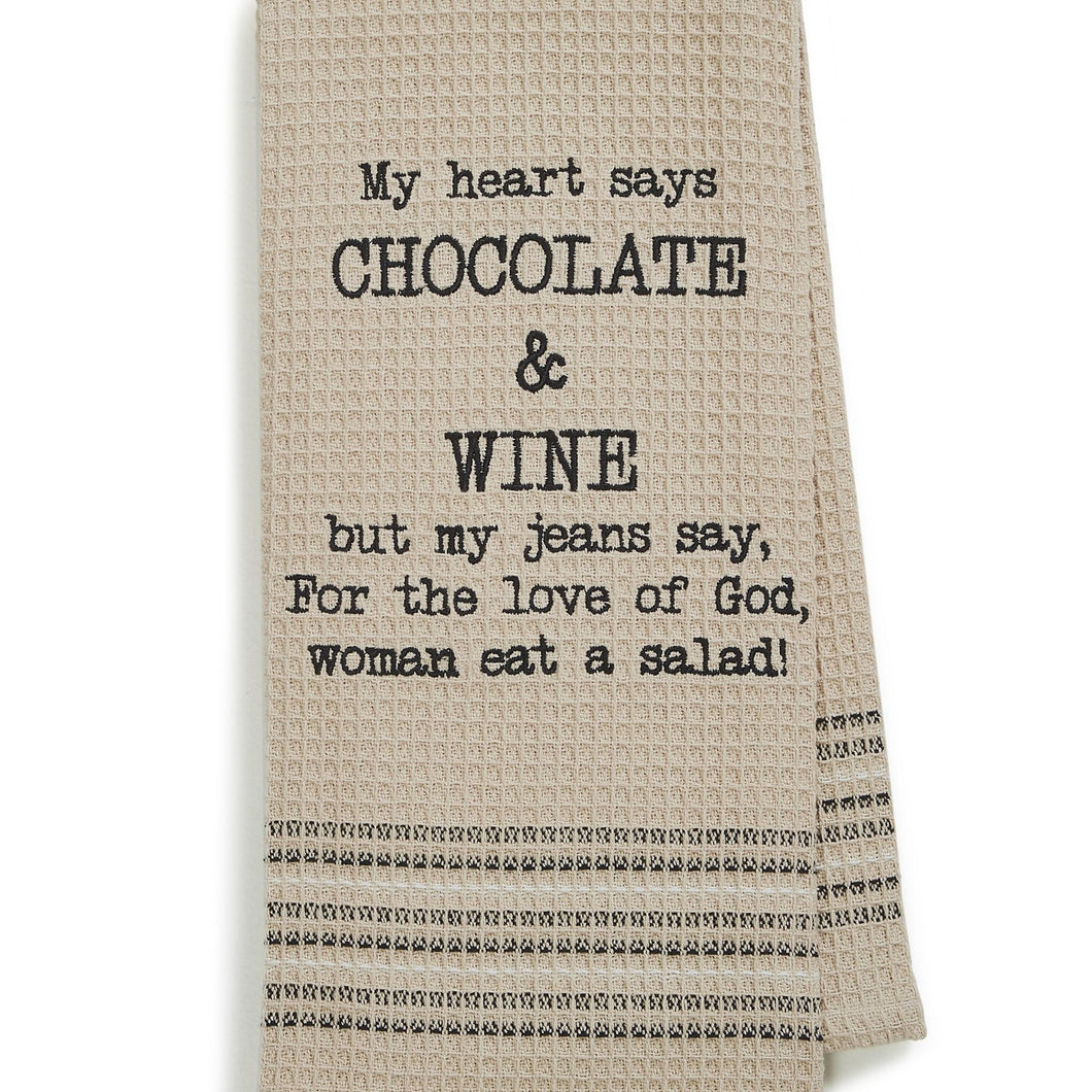 CHOCOLATE & WINE DISHTOWEL- SET OF 2