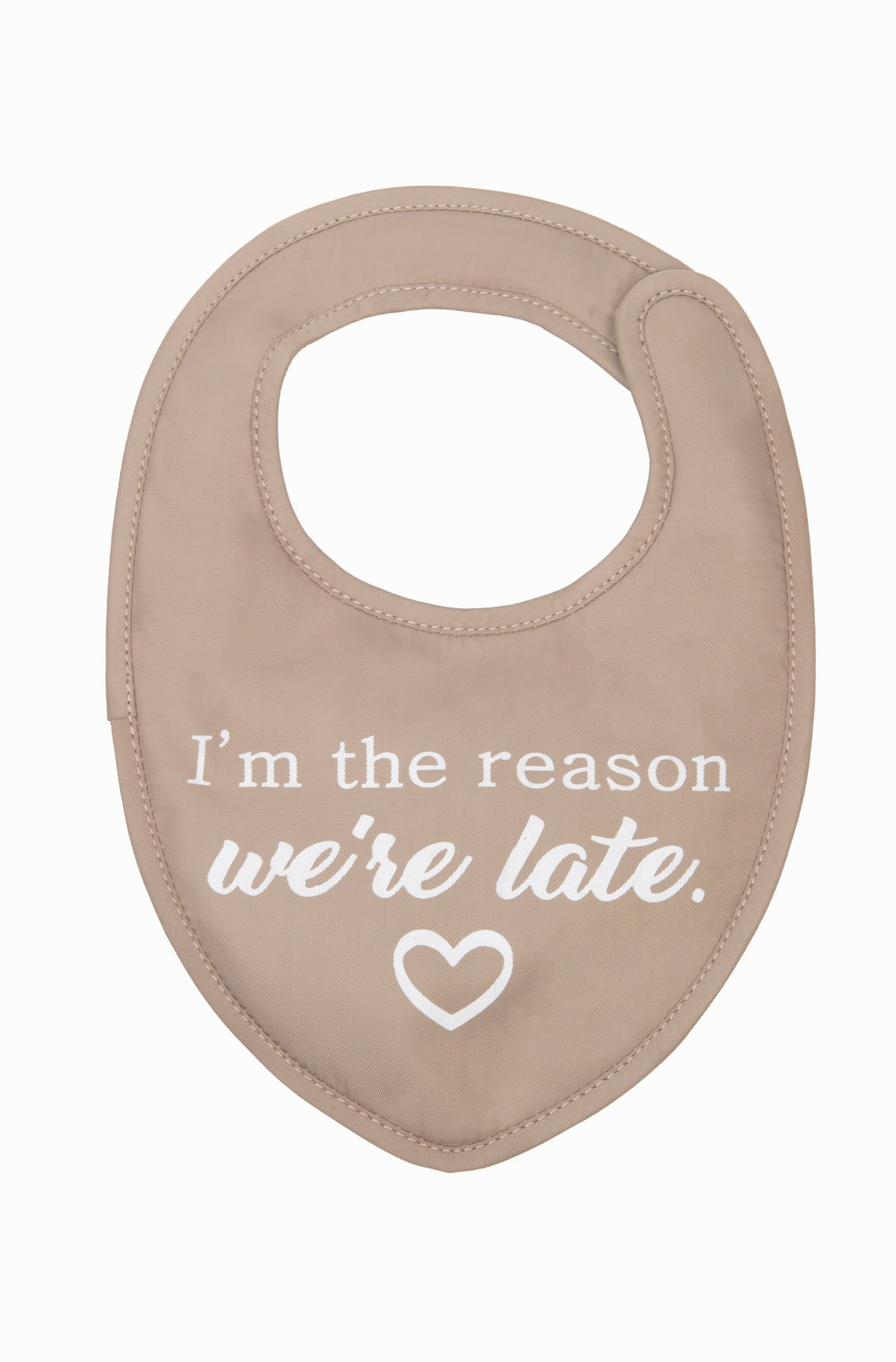 WE'RE LATE CHILD'S BIB W/ PACIFIER CLIP
