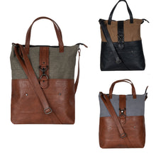 Load image into Gallery viewer, Mona B. Jamie Up-cycled and Re-cycled Canvas Tote/Shoulder Bag with Vegan Leather Trim