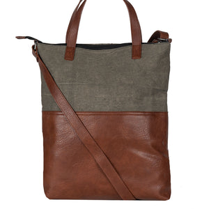 Mona B. Jamie Up-cycled and Re-cycled Canvas Tote/Shoulder Bag with Vegan Leather Trim