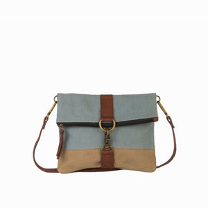 Mona B. Finley Up-cycled and Re-cycled Canvas Cross-body with Vegan Leather Trim