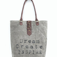Load image into Gallery viewer, Mona B. Dream Create Inspire Up-cycled and Re-cycled Canvas Tote/Shoulder Bag with Vegan Leather Trim