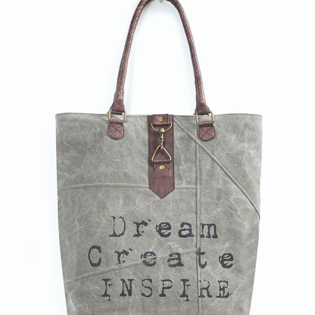 Mona B. Dream Create Inspire Up-cycled and Re-cycled Canvas Tote/Shoulder Bag with Vegan Leather Trim