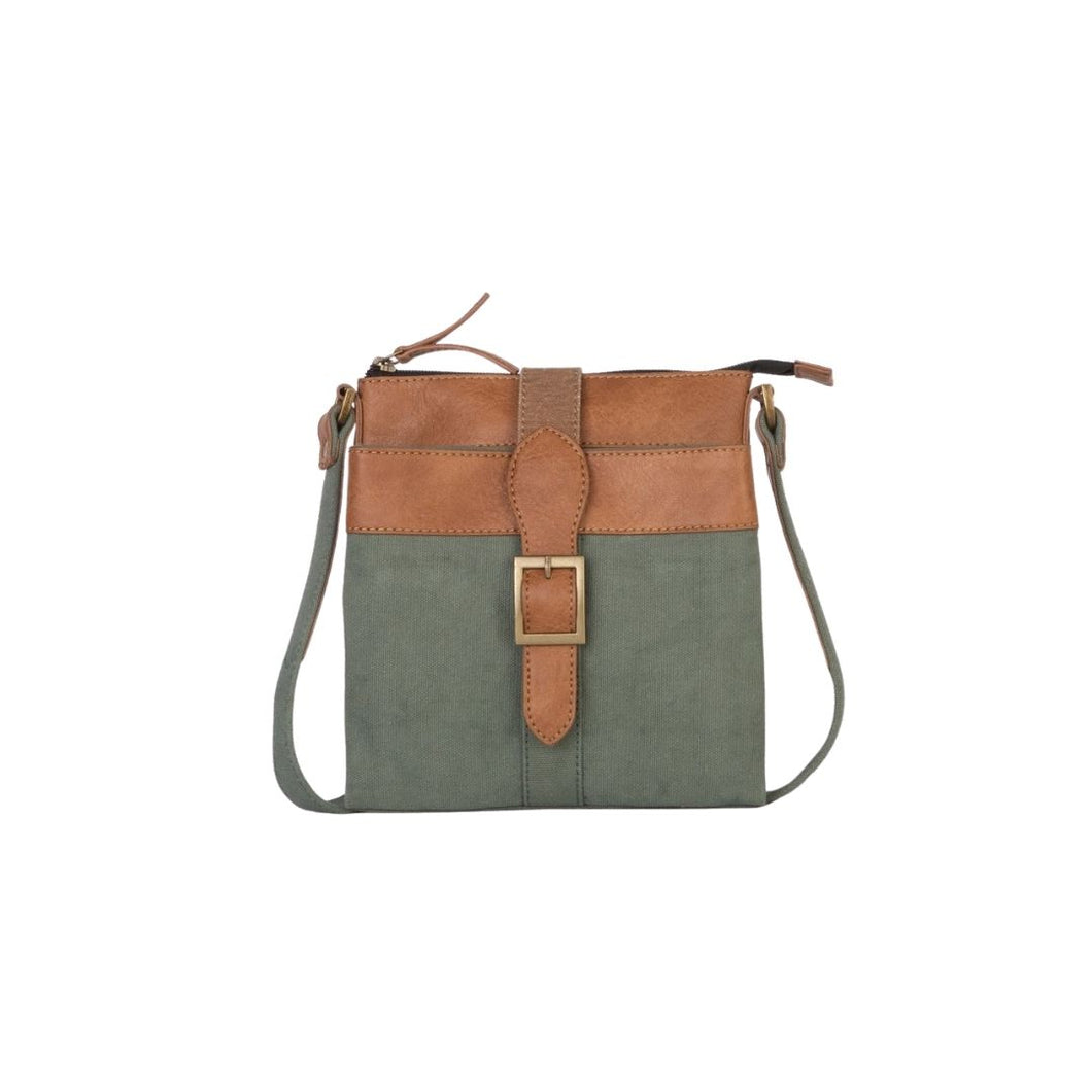 Mona B. Intermix Convertible Up-cycled Canvas Cross-body Bag with Vegan Leather Trim