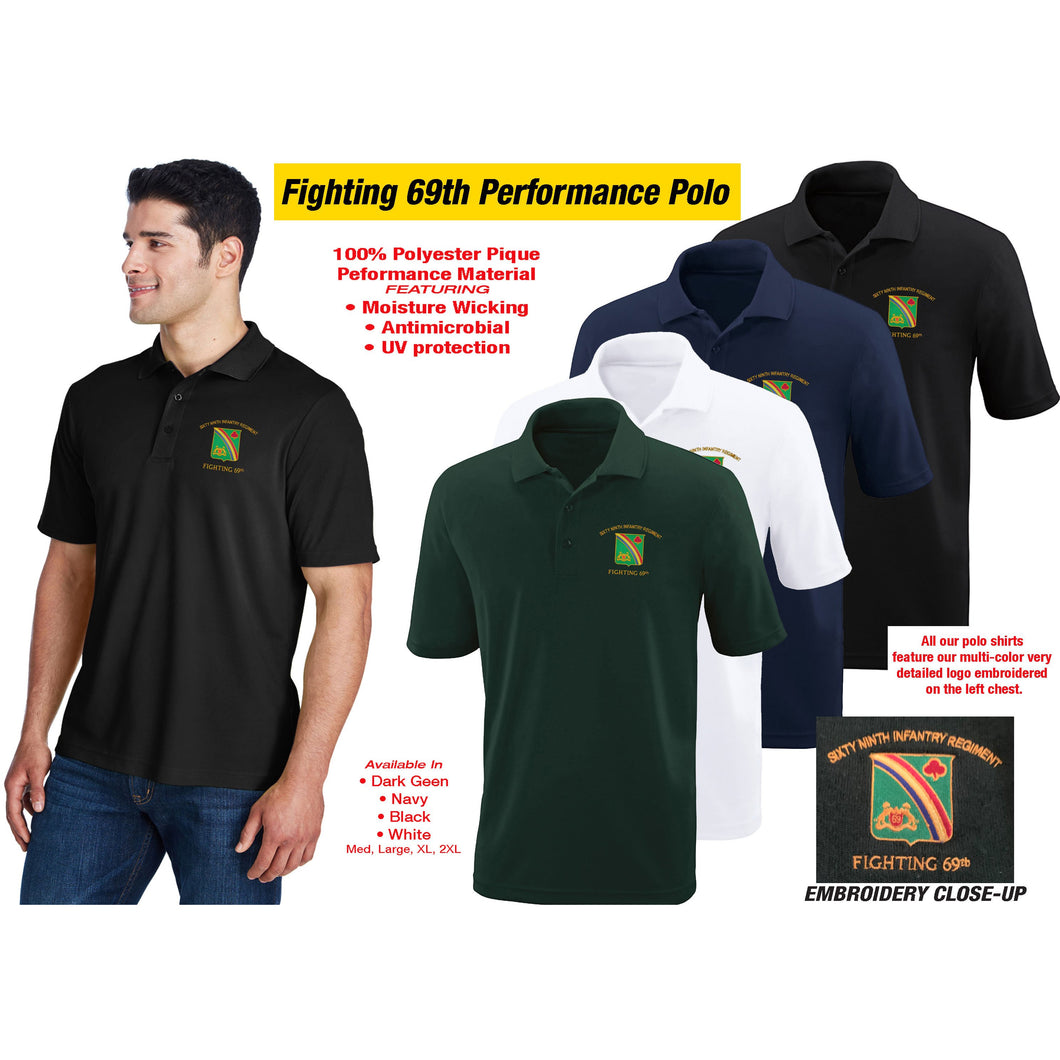 69th Regiment Golf Polo Shirt, Assorted Colors