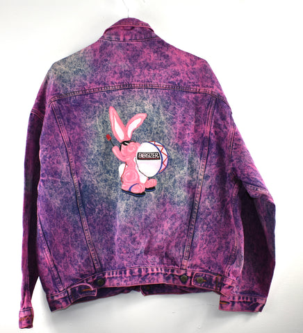 Vintage Acid Wash Energizer Bunny Jean Jacket Reworked