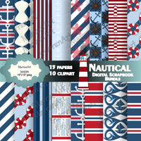 Nautical Bundle - Digital Paper with clipart
