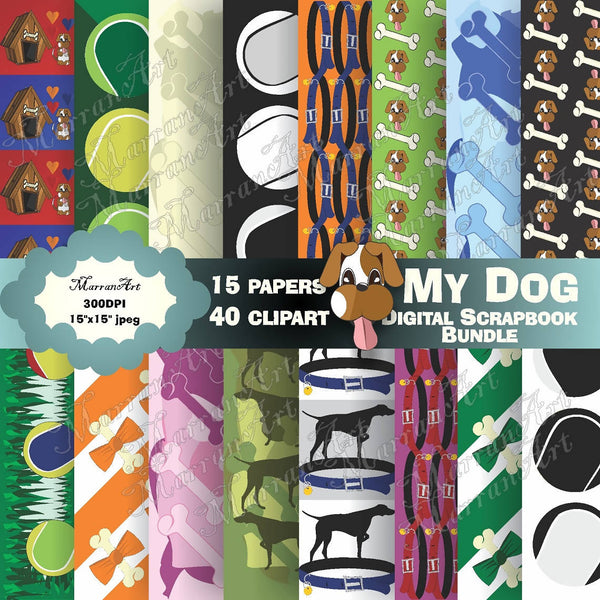 My Dog Digital Bundle - Digital Paper, clipart
