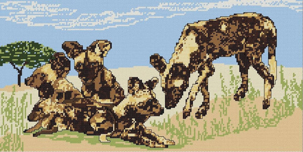 African Wild-dog Family Cross-stitch pattern