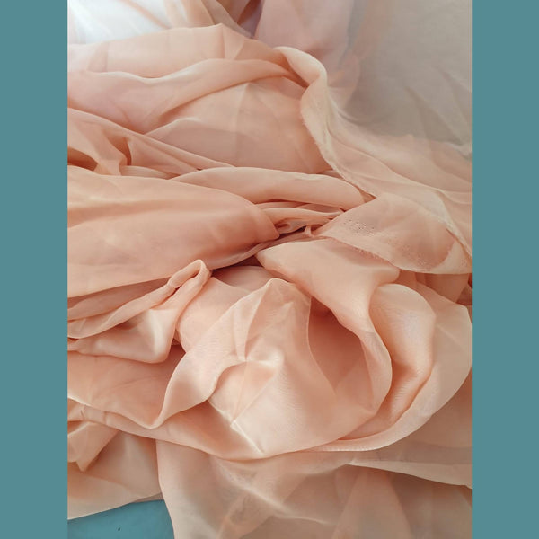 Fabric Off Cut Bundle - Peach Pink Chiffon 15m