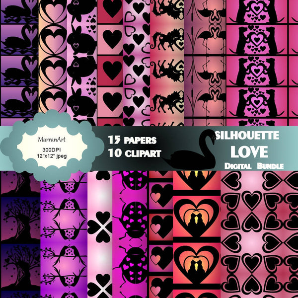 Silhouette Love Bundle - Seamless Digital Paper with clipart