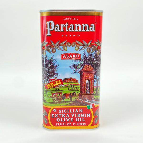 front of partanna olive oil bottle