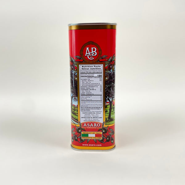 side of partanna olive oil can, includes nutrition facts